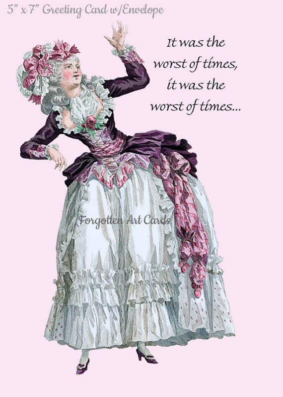 "It Was The Worst Of Times, It Was The Worst Of Times, 5""x7"" Greeting Card with Envelope, Marie Antoinette Card. Forgotten Art Card, Purple"