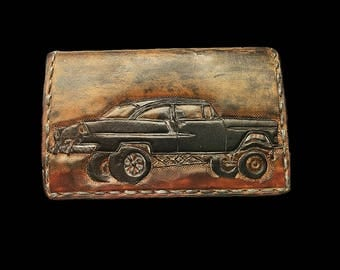 Leather card case, 55 Chevy wallet, 31 Ford pickup, patina hot rods, ratrods wallet