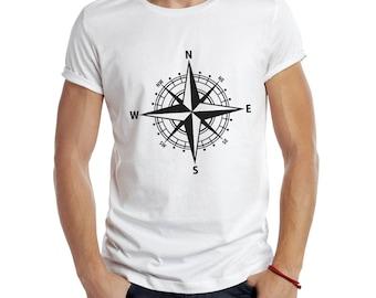 Compass T-shirt , T-shirt Crew Neck , Nautical T-shirt , Yachting T-shirt , Boyfreind Gift , Graphic Tee  , American Apparel , Art To Wear