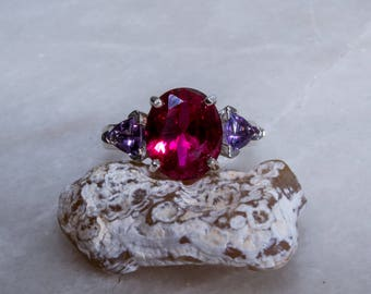 Amethyst Accented Ruby and Sterling Ring.