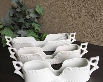 White Porcelain Flatware Caddies Maryland China Silverware Holders Set 3 - #E1016