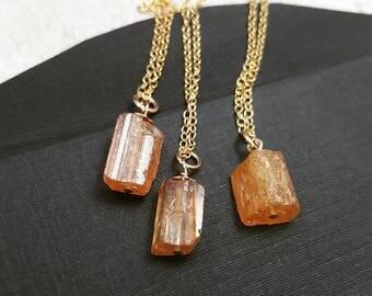 Raw Imperial Topaz Necklace. Genuine Gold Topaz necklace. November birthstone necklace. Raw gem necklace. Rough Topaz. Leo necklace.