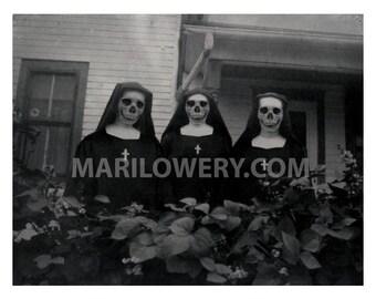 Creepy Halloween Art, 11 x 8.5 Inch Print, Three Nuns, Skull Faces, Dark Art Print, Halloween Decor, Macabre Decor