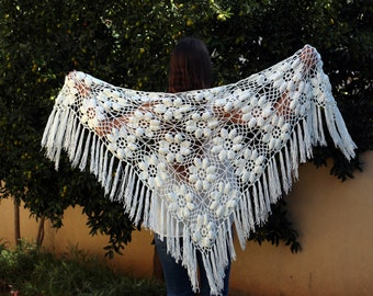 Evening Wrap Lace Shawl Evening Shawl Ivor Lace Shawl Wedding Wrap Off White Shawl Crochet Shawl Crochet Bridal Shawl Crochet Scarf Ivory