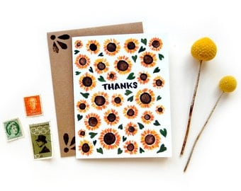 Sunflower Thank You Small Greeting Card | Handwritten Brush Lettering Small Greeting Card Watercolor