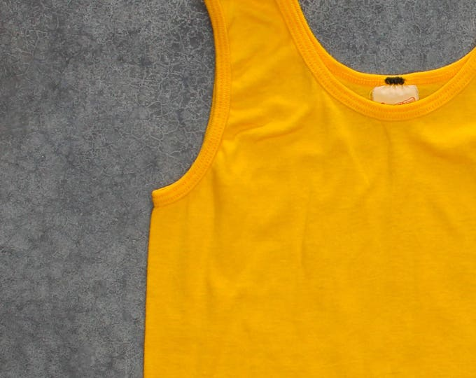1970s Tank Top Bright Yellow | Size X-SMALL Made in USA | Sneakers Brand 70s 7W