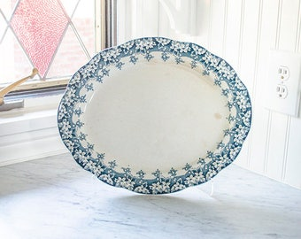 Antique Ironstone Platter, Rare Navy Blue Transferware, Beautiful Design