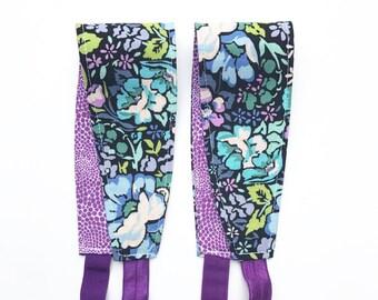 Headband for Women, Teens, or Girls. Reversible. Purple Floral. Retro Mod Style.