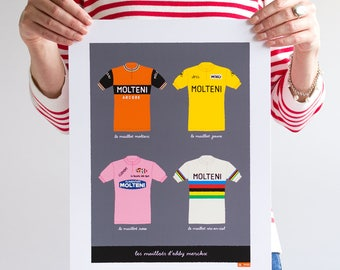 Bike Art Print, Classic Eddy Merckx Cycling Jerseys, Tour de France, Giro d'Italia