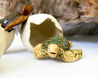 Ceramic Hatching Egg Green Sea Turtle Sculpture, 2 Piece USA Artisan Handmade Pottery Turtle Lover Gift Beach Ocean Cottage Decor Honu Totem