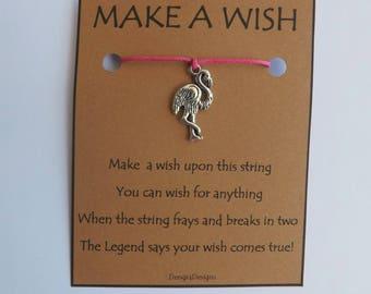 Flamingo Bird Silvertone Charm WISH STRING Bracelet String Friendship Bracelet  Amulet Lucky Stocking Stuffer