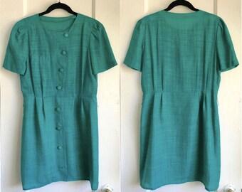 Green Buttons Mini Dress