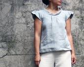 Woman linen blouse, woman linen shirt, woman linen top, Mother's day, summer linen top, elegant linen, linen clothing, sustainable clothing