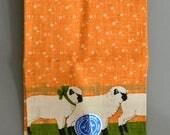 Vintage Unused Kitchen Towel Linen - Tea Towel Never Been Used Orange Green Sheep Farm Farmhouse Decor Gift Idea