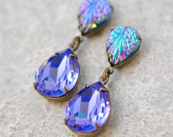 Purple Bridesmaids Earring Swarovski Crystal Tanzanite Dangles Vintage Glass Iridescent Purple Blue Rainbow Stud Post Clip On Dangle Earring