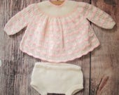 Baby girl's white and pale pink hand knitted lace lacy dress / angel top sweater jumper and pants / diaper cover outfit