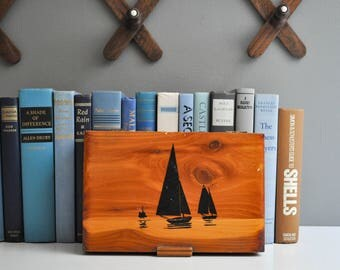 Vintage Dovetailed Wooden Sailboat Box - Jewelry Box - Storage Box