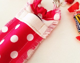 Lip Balm Purse Clip, Chapstick Holder Keychain for Women, Red Candy Charm, Hot Pink Polka Dots, Girlie Accessory, Clip On Purse Bling