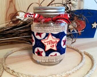 Texas Star Decorated Jar, Decorative Mason Jar, Texas Decor, Table Decor, Rustic Farmhouse Decor, Patio Jar Light, Red White and Blue