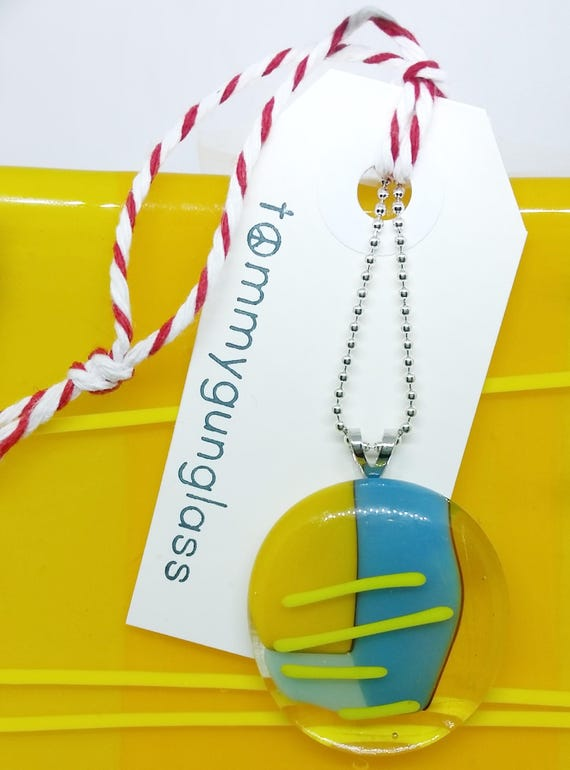 Glass Pendant - Yellow and Turquoise on Silver Chain