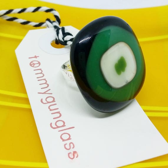 Green and Black Adjustable Ring