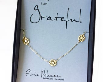 Gratitude Jewelry Bridesmaid Gift Birthday Gift for Her Thank You Gift Gold Flower Necklace Dainty Choker Inspirational Strength Jewelry