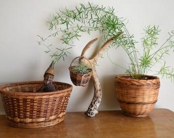 Set of (3) Vintage Basket Planters - Boho, Farmhouse, Natural, Ecletic