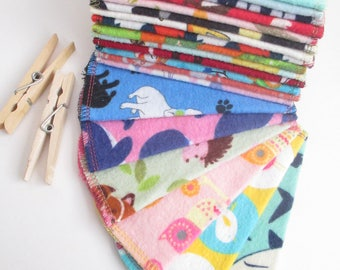 Cloth Wipes--Petite--Pack of 20--Animals Mix--2 Ply Flannel--Ready to Ship