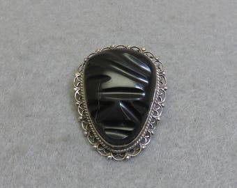 Vintage 1960s Mayan Face Brooch,  Sterling Silver Carved Onyx Face Brooch