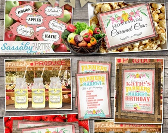 Farmers Market Birthday Party Collection - INSTANT DOWNLOAD - Partially editable & printable Birthday Party Invitation and Decorations