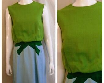 Vintage 1960s Dress Three Tone Color Block Mod Linen Wiggle Dress Medium 38 x 27 x 40