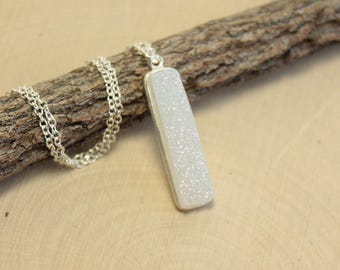 Sterling Silver Aurora Borealis Vertical Druzy Bar Necklace