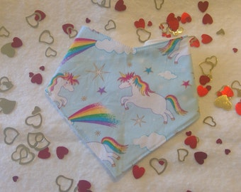Bandana bib for baby - Unicorns blue