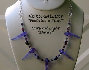 """Lampworked Glass Bead Lilac Frosted Swirl Necklace - 18"""" - 20"""" (Lilac Swirls)"""