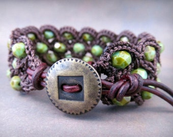 Boho Crochet Cuff Bracelet, Earthy, Rustic with dark brown and green turquoise shades