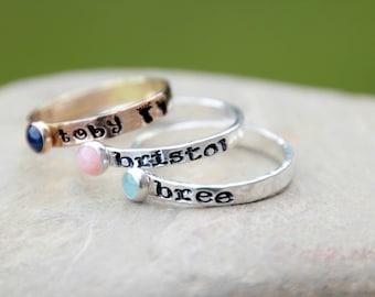 Hand Stamped Stacking Birthstone Ring - Natural Gemstone - Geniune birthstone - Mother's Ring - Kids name ring - Birthstone Ring