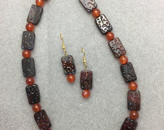 Brown Rectangle Glass and Carnelian Necklace and Earring Set