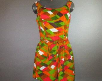 Vintage 1960's Romper, Playsuit, Jumpsuit // Mod, Phychedelic, Op Art, Swimsuit // Light Barkcloth Texture