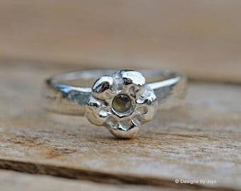 Fine Silver Flower Ring Gemstone Ring Peridot