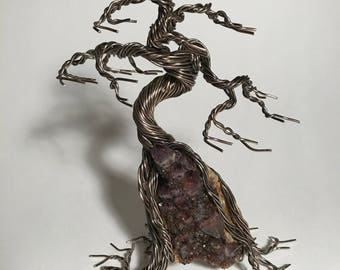 Bonsai Wire Tree, on Amethyst crystal stone
