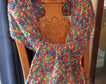 "Hand Crochet Scarf 68"" x 9.5"" plus 5"" Fringe - Brighten Any Coat, Sweater, Dress - Shoulder, Neck, Head Scarf - Designed Made USA Item 5023"