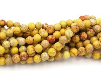 Mustard Yellow Impression Jasper Beads 8mm round -15.5 beads