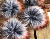 Autumn Storm Fur Pom Poms Limited Edition Silver Black Orange Green Red Plush Handmade Vegan Cruely Free for Toques Beanies Hats