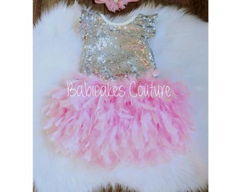 Babys 1st Christmas, Full Feather Tutu, Baby Silver Sequin Bodysuit, Gold Headband, Pink and Silver 1st Birthday, 1st Birthday Girl Outfit