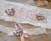 MONOGRAMMED Wedding Garter Rose Gold or Silver Setting. Bridal Garter Floral Stretch Lace Bridal Garter Single Garter