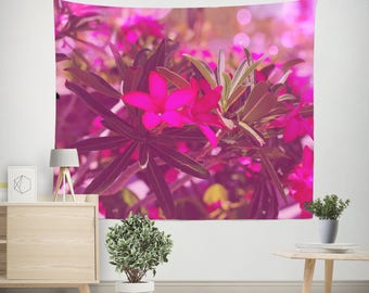 Floral Wall Tapestry, Desert Rose, Flower Wall Tapestry, Pink Tapestry, Floral Decor, Pink Flower Wall Art, Large Wall Tapestry, Dreamy Art