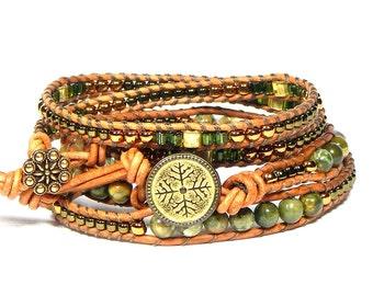 Bracelet Set Leather Wrap 2 Pc Camo Ryolite Boho Bracelet Strength Creativity Resolution Boho Bracelet Bohemian Jewelry