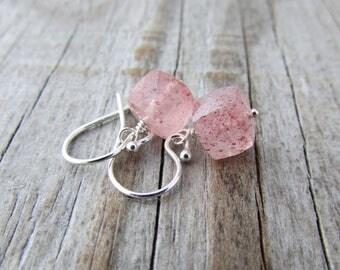 Strawberry Quartz Earrings, faceted pink cubes, sterling silver gemstone dangle earrings