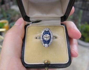 Antique Edwardian Platinum Sapphire and Diamond Navette Ring