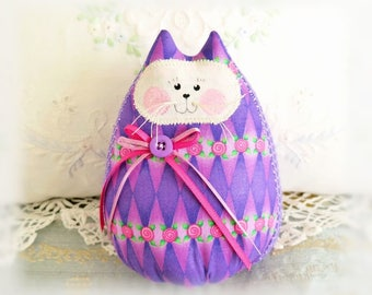 "Cat Doll 6""  Home Decor Cat Free Standing Kitty, Purple Lavender Pink, Home & Living Cottage Style Prim Handmade CharlotteStyle"